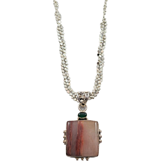 Sterling Silver Agate and Chrysoprase Pendant WITHOUT Chain