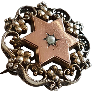 Antique French Victorian Silver Gilded Vermeil Seed Pearl Star Brooch Pin
