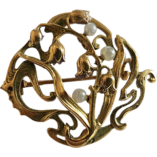 Antique French Art Nouveau 18 carats Gold Filled Lily of the valley Brooch Pin