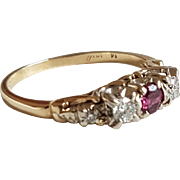 Vintage Natural Ruby & Diamond 14k Gold Trilogy Ring