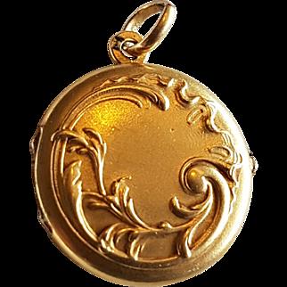 Antique French Art Nouveau 18k Gold Filled ORIA Locket Photo Reliquary Pendant