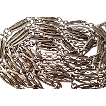 Antique French Silver Filigree Long Guard Chain Necklace 55,11 inches