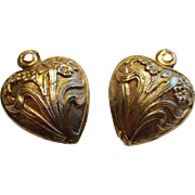 2 Art Nouveau French Repousse Puffy Heart Charm or Pendant Flower Motive