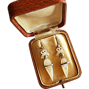 Rare Victorian Silver & Mother of Pearl Shoes Dangling Earrings