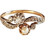 Antique French 1900 Diamond & Natural Pearl Toi et Moi 18k White & Yellow Gold Ring
