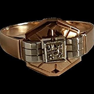 Vintage French Art Deco 1920 18k White & Rose Gold  diamond Ring