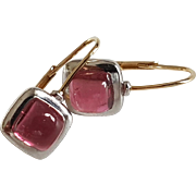 Vintage French 18k White & Yellow Gold Rubellite Tourmaline Cabochon Dormeuse Leverback Earrings