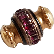 French Victorian 18k Gold Charm Slide For Long Guard Chain or Watch Chain Ruby