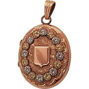 Antique French Victorian 18k 3 Colors Gold Filled Locket Pendant For Book Chain
