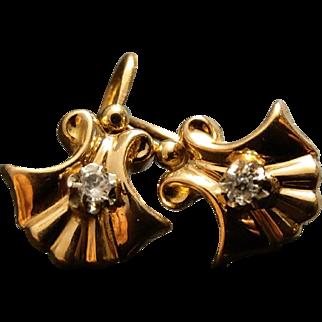 Edwardian French 18k Gold Spinel Dormeuse Earrings