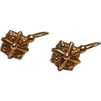 Antique French Victorian 18k Gold Small Dormeuse Earrings N°1