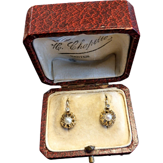 Antique 18 k Gold Pearl Dormeuse Earrings French