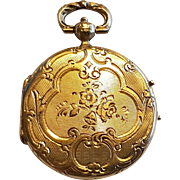 French Antique Victorian 18 K Gold Pocket Watch Style Photo Locket Pendant n°1
