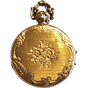 French Antique Victorian 18 K Gold Pocket Watch Style Photo Locket Pendant n°2