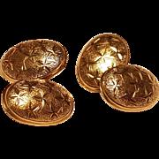 Vintage French 18k Gold Cufflinks Stars Design