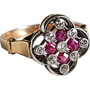 Antique French Edwardian 18k Yellow Gold & Platinum Diamonds Ruby Calibre Ring Clover Shape