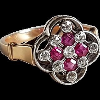 Antique French Edwardian 18k Yellow Gold & Platinum Diamonds Ruby Calibre Ring Clover Shape