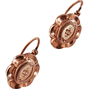 "Antique French Late Victorian 18k Gold Filled ""Double Or"" Dormeuse Earrings N°3"