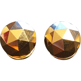 Edwardian 18k Solid Gold Faceted Clip On Earrings French Antique Jewelry