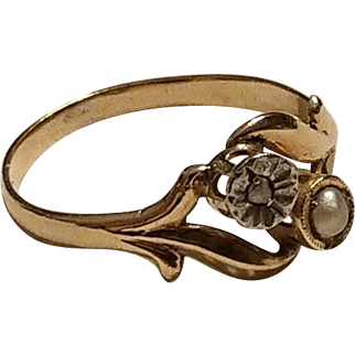 Antique French 18k Gold Rose Diamond & Pearl Bypass Ring Toi et Moi Ring