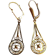 Antique French 18k Gold Seed Pearl Dormeuse Dangle Earrings