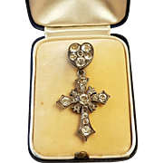 Antique French Victorian Silver Paste Cross Pendant With Heart Shaped Bale