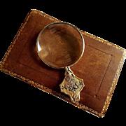 """Antique French Art Nouveau Silver Gilt Magnifying Glass in Case """"A la Gerbe d'Or"""" Paris"""
