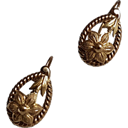 Antique French Late Victorian 18k Gold Filled Dormeuse Earrings N°4