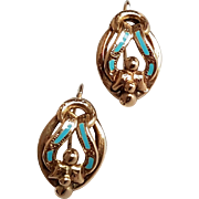 Large Antique French Early Victorian 18k Solid Gold Turquoise Enamel Dormeuse Earrings