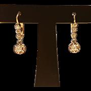 Vintage French  Art Deco 18 k Gold Old Cut Diamond Dormeuse Leverback Dangling Earrings