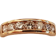 French 18k Yellow Gold Diamond Wedding Ring / Eternity Band  .91 ct Brilliant Cut