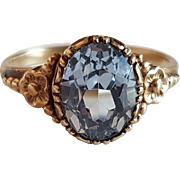 Vintage Retro 1940's 8k Gold & Synthetic Blue Spinel Ring