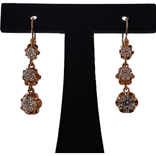 Vintage French 18k Yellow Gold Sparkly Paste Dangling Dormeuse Earrings