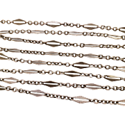 Antique French Silver Long Guard Chain Necklace 58,66 inches