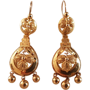 Antique French Victorian 18k Solid Gold Day Night Dormeuse Earrings
