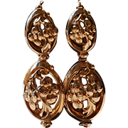 Large Antique French Victorian 18k Gold Filled Day Night Dormeuse Earrings