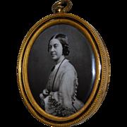 Antique Lafon de Camarsac's process French Photographic Enamel Lady Miniature Portrait In Gilt Bronze Frame