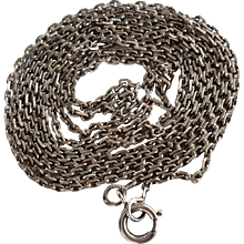 Antique French Silver Long Guard Chain Necklace 55,5 inches N°3