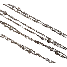 Antique French Silver Long Guard Chain Necklace 56,3 inches N°4