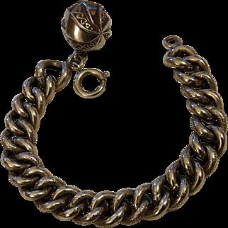 French Victorian Silver Bracelet Snake Pattern Ball Charm