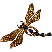Vintage French 18k Gold Natural Sapphire Dragonfly Brooch