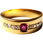 Antique French 18k Yellow Gold Rose Diamonds Ruby Wedding Band Ring
