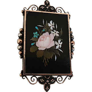 Antique Victorian 19th C Pietra Dura Rose Gold Silver Brooch Pin Reliquary Locket & Beveled Mirror