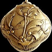 Antique Art Nouveau French Silver Gilded Vermeil Pill Box / Powder Compact Locket Pendant Mistletoe Pattern