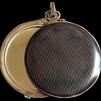 Antique Tula Niello Silver Slide Mirror / Photo Frame Locket Pendant