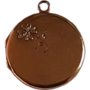 Antique French 18k Gold Photo Reliquary Locket shamrock Pendant