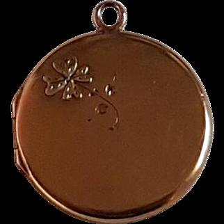 Antique French 18k Gold Photo Reliquary Locket shamrock Pendant