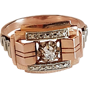 Vintage French Art Deco Tank 18k White & Rose Gold diamond Ring