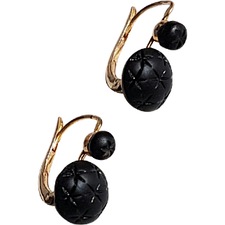Antique Late Victorian Mourning French 18k Rose Gold Jet  Leverback Dormeuse Earrings