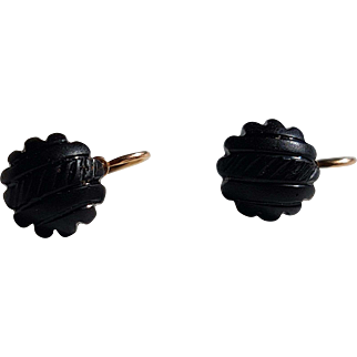 Antique Late Victorian Mourning French 18k Rose Gold Jet Dormeuse Earrings N°2